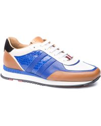 Bally Cobalt Watersnake and Leather Trainer Sneaker - Lyst