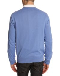 Polo Ralph Lauren Sky Blue Cotton V-Neck Sweater - Lyst