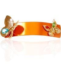 Rodarte - Orange And Gold Butterfly Barrette With Swarovski Crystals - Lyst