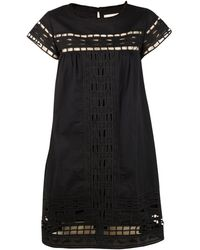 Sea Embroidered Babydoll Dress - Lyst