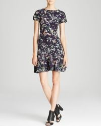Shoshanna Dress Short Sleeve Scuba Confetti Print Mini - Lyst