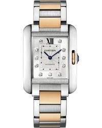 Cartier Tank Anglaise 18ct Pink-gold and Stainless Steel Large Watch - Lyst