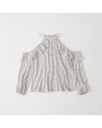 Abercrombie & Fitch - Ruffle Cold-shoulder Top - Lyst