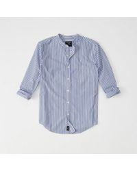 Abercrombie & Fitch - Banded Collar Poplin Shirt - Lyst
