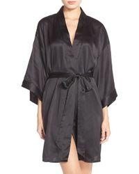 Black Bow 'gem' Satin Robe - Black