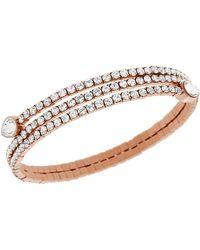 Swarovski Rose Gold Tone and Crystal Twisted Bangle Bracelet - Lyst