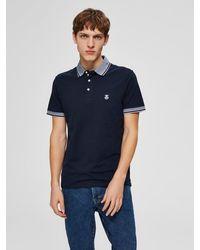 SELECTED Bio-Baumwoll Poloshirt - Blau