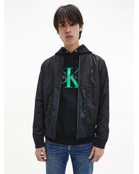 Calvin Klein Bomberjacke aus Nylon im Knitter-Look - Schwarz