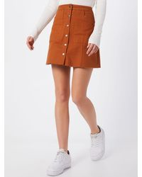 Missguided Rock 'Button Through A Line Mini Skirt' - Braun