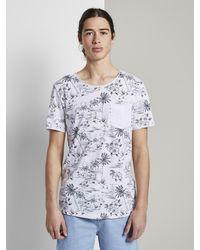 Tom Tailor Denim T-Shirt Sommerliches T-Shirt mit Allover-Print - Weiß