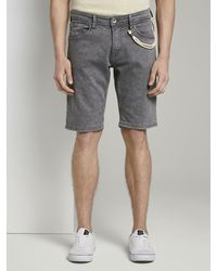 Tom Tailor Denim Jeanshosen Regular Jeansshorts in Farbwaschung - Grau