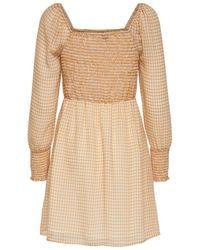 ONLY Kariertes Kleid mit langen Ärmeln - Natur