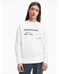 Calvin Klein - Sweatshirt aus Bio-Baumwolle mit Palmen-Print - Lyst
