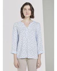 Tom Tailor Blusen & Shirts Gemusterte Bluse - Blau