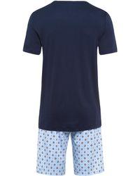 Hanro Kurzarm Pyjama ' Night & Day ' - Blau