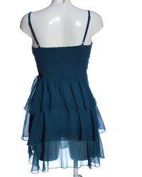 Cotton Club Rüschen-Bluse - Blau