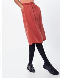 POP Copenhagen Rock 'Metallic Midi Flare Skirt' - Orange