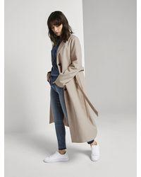 Tom Tailor Jacken Langer Mantel mit Bindegürtel - Natur