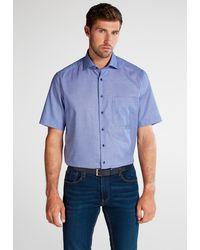 Eterna Kurzarm Hemd - Blau
