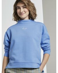 Tom Tailor Strick & Sweatshirts Sweatshirt mit Stehkragen - Blau