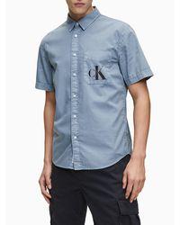Calvin Klein Cotton Ripstop Short Sleeve Shirt - Blau