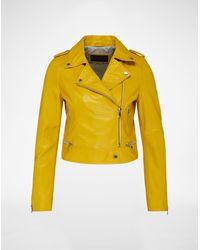 Oakwood Biker-Lederjacke - Gelb