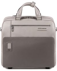 Piquadro Akron 2-Rollen Businesstrolley Leder 36 cm Laptopfach - Mehrfarbig