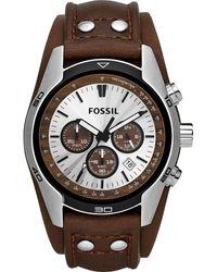 Fossil Herren Chronograph Quarz Uhr mit Leder Armband FS5523 - Schwarz