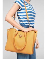 Comma, Eleganter Shopper aus Echtleder - Gelb