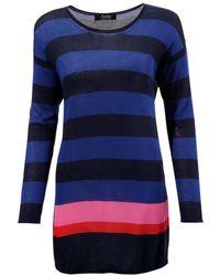 Aniston SELECTED Langarmshirt mit Kontraststreifen - Blau