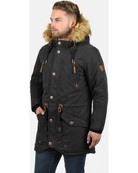 Solid Parka »Vidage« warme Jacke mit abnehmbarem Kunstfellkragen - Schwarz