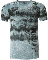 Rusty Neal T-Shirt in Batik Optik - Grau