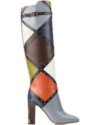 Valentino Dotcom Colorblock Knee-High Boot - Lyst