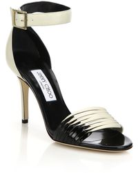Jimmy Choo Livvi Two-Tone Leather Sandals black - Lyst