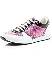 River Island Pink Snake Print Lace Up Trainers - Lyst