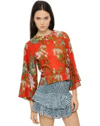 Etoile Isabel Marant Floral Printed Cotton Voile Top - Lyst