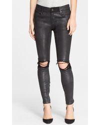 Rta 'Dylan' Destroyed Leather Skinny Pants - Lyst