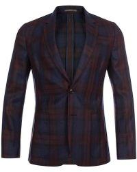 Paul Smith | Men's Navy And Burgundy Check Silk-blend Blazer | Lyst