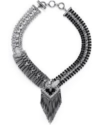 Iosselliani Deco Cheetah Crystal Fringe Necklace - Lyst