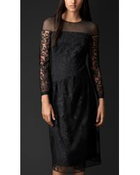 Burberry Contrast Embroidered Lace Dress - Lyst