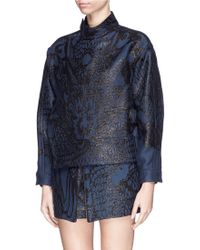 Ms Min Dragon Jacquard Side Zip Jacket - Blue