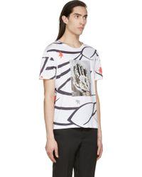 Raf Simons Black And White Mixed Print T_Shirt - Lyst