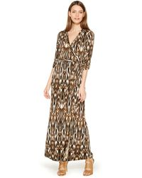 Calvin Klein Faux-Wrap Maxi Dress animal - Lyst