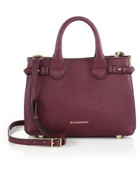Burberry Banner Small Leather & Check Satchel - Lyst