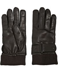 Emporio Armani Nappa Leather Belted Gloves - Lyst