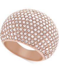 Swarovski Rose Goldtone Crystal Pavé Dome Ring - Lyst