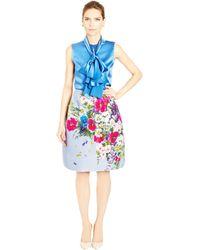 Oscar de la Renta Floral Bouquet Print Silk Faille Skirt - Lyst