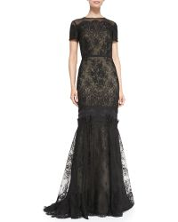 Carolina Herrera | Short-sleeve Tiered Lace Evening Gown | Lyst