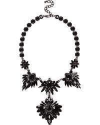 River Island Silver Tone Black Gemstone Statement Necklace - Lyst