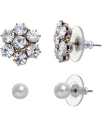 John Lewis - Small Crystal Flower and White Pearl Stud Pack - Lyst